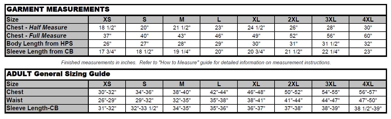 MenS350 spec chart